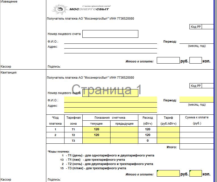 Образец бланка квитанции за электроэнергию