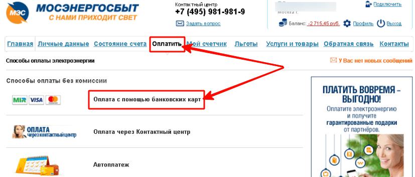 Оплатить электроэнергию на сайте Мосэнергосбыт