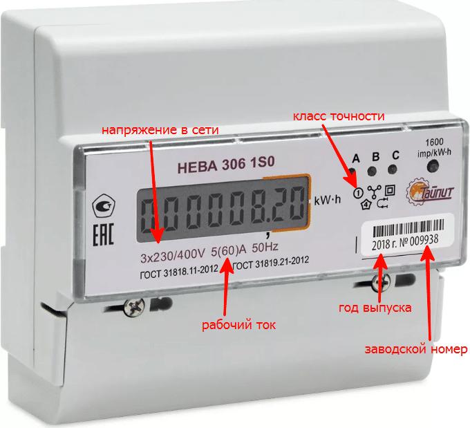 Передняя панель счётчика